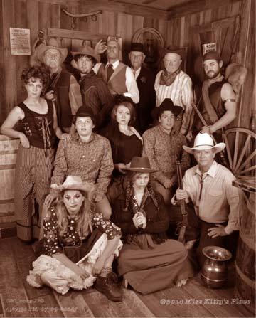The cast of Shakespeare's Twelfth Night, opening this week at The Merc Playhouse in Twisp: Back row from left, Kate Wisniewski, Don Nelson, Josh Holguin, Chris Behrens, Robert Nelson, Bob Hoffman, Doran Doran. Middle row, from left, Amelia Garcia-Cosgrove, Kylie Spillman, Matt Weingarten. Front row from left, Mandi Smith, Amelia Eberline, David Gottula. Hoffman, who was injured in a recent accident, has since been replaced by Rob Brooks. Photo by Miss Kitty's Place