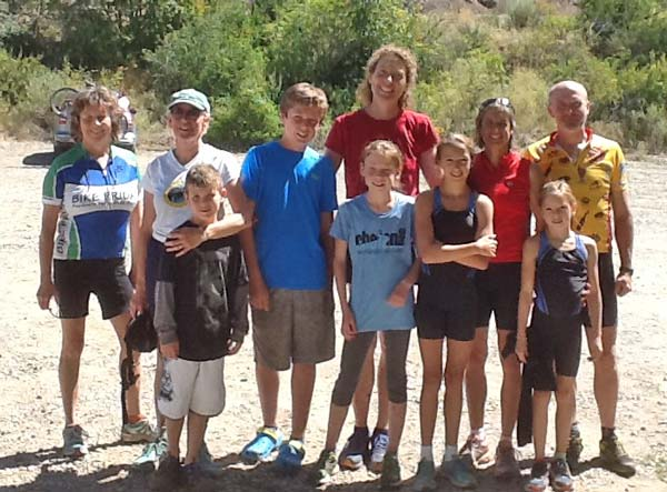 Local athletes who turned out for the ChelanMan substitute MethowMan Try-a-Tri at Patterson Lake included, from left, Linda Mendro, Lynette Westendorf, Xander Hart, Peter Aspholm, Margo Aspholm, Liv Aspholm, Gretta Scholz, Lisa Spitzmiller, Hanz Scholz and Stella Scholz. Photo courtesy of David Aspholm
