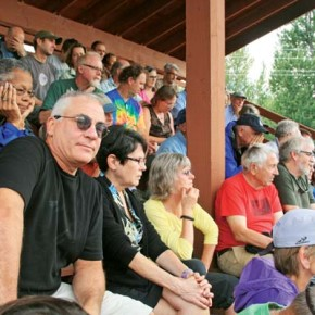 Residents gathered for a fire information meeting on Saturday in Winthrop. Photo by Marcy Stamper