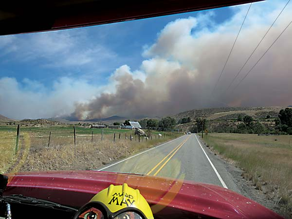 Volunteer firefighter Max Jones, who has 32 years of firefighting experience, took this photo from a fire truck responding to a blaze on Upper Beaver Creek on July 17. Photo courtesy of Max Jones