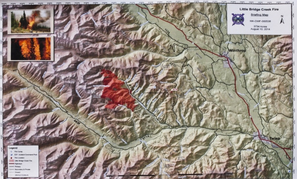 Little Bridge Creek Fire map, Aug. 10