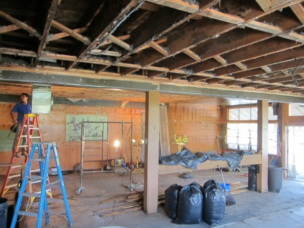 Workers were tearing out the old at Antlers Saloon and Cafe last weekend in preparation for the new: a remodeled bar and eatery in a space that was in business for nearly 90 years before closing last New Year's Eve. Photo by Don Nelson