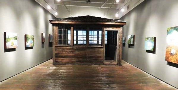 Photo courtesy of Tori Karpenko Karpenko's replica of a 1930s fire lookout cabin is the centerpiece of his exhibit.