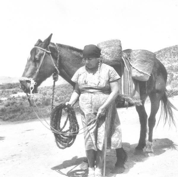 Photo by by Mable Gavin, used with permission from Elaine Timentwa Emerson Julian Monse Timentwa with her horse and cedar root basket.