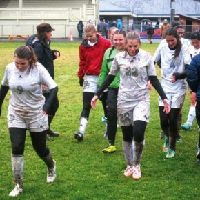 Lady Lions start soccer playoffs with a rain-soaked victory