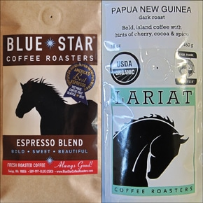 Blue Star Coffee Roasters is challenging Lariat Coffee Roasters' use of a silhouetted horse as its logo.