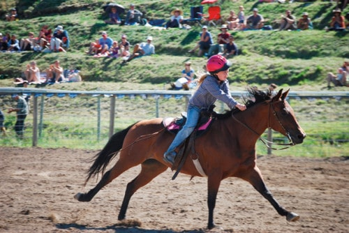 Riata Marchant of Omak won the barrel race competition both days. Photo by Dana Sphar