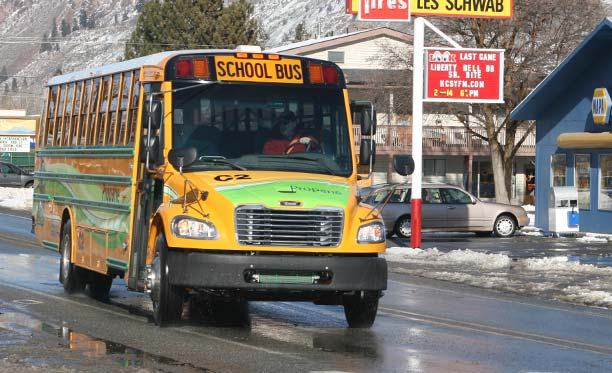 A propane-powered school bus made a visit to the valley last week to demonstrate potential advantages for the school district's fleet. Photo by Marcy Stamper