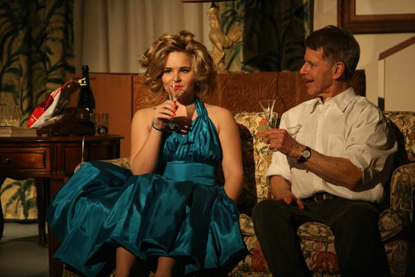 Kira Cramer and Rob Brooks entertain each other in The Seven Year Itch, opening Friday. Photo by Marcy Stamper
