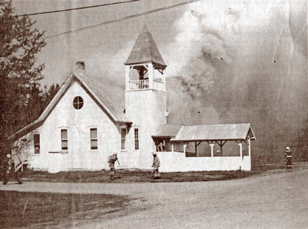 GUTTED. The third major fire in the Methow Valley within 15 months  destroyed the Winthrop United Methodist Church Friday, April 22. Firefighters from Winthrop and Twisp responded to the mid-morning blaze. Photo from the Methow Valley News archives