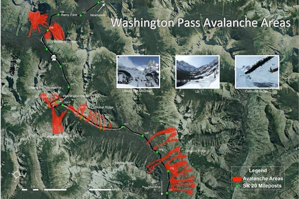 Avalanche chutes along SR20. Photo Courtesy of WSDOT