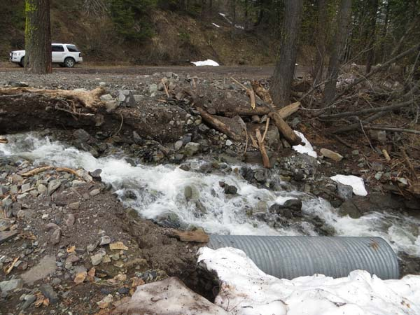 This photo was taken in early May of the washout at Cache Creek. The trench has continued to worsen, but the USFS is hoping to have the road repaired by the time Harts Pass is free of snow. Photo courtesy Mike Liu, USFS