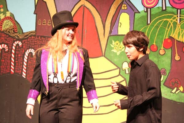Charlie (Myles Davis, right) can hardly believe it when Wonka (Morgan Tate, right) reveals his plan to retire. Photo by Darla Hussey