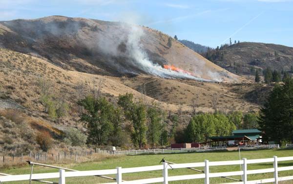 This past weekend's fire near Benson Creek took about four hours to extinguish. Photo by Darla Hussey