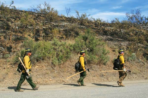 Photo by Marcy Stamper A fire burned dry grasses and shrubs on the hillside above Lower Beaver Creek Road near Finley  Canyon last weekend. Fire crews cut hand lines and trees, while other firefighters were attacking a separate blaze around the corner on the Loup Loup Highway.