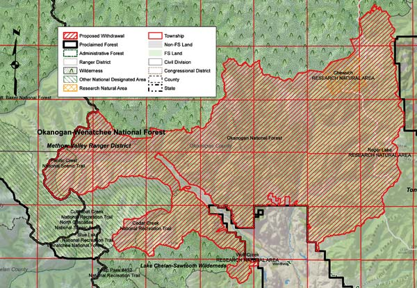Map courtesy Senator Patty Murray's office The 340,079-acre area proposed for mineral withdrawal under legislation introduced last week by Sens. Patty Murray and Maria Cantwell.