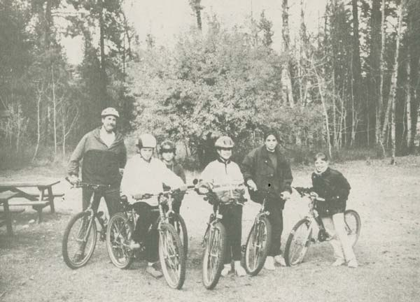 Jay Lucas, left, and members of the 4-H bicycle group, Landon Fisher, Blake Stokes, Lindsay Barksdale, Erin Carey and Shelby Lee, go for a ride on the Sun Mountain trails. Photo from the Methow Valley News archives