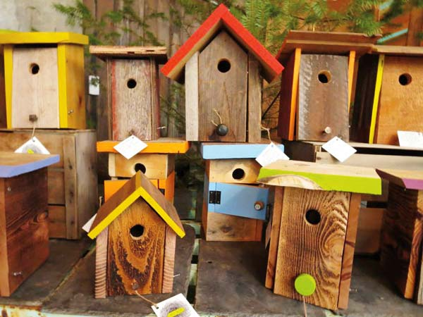 Photos courtesy Patrick Hannigan Each nest box is different, depending on the scrap wood and repurposed hardware used in their construction. Hannigan builds boxes with specific dimensions and entry hole sizes to target over two dozen species of cavity nesting birds.