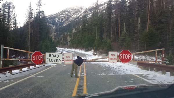 Photo courtesy of WSDOT With four slides on the road, 4 more feet of snow forecast and ice in all the avalanche chutes, the Washington State Department of Transportation decided to close the North Cascades Highway for the season on Monday. Above, the Silver Star Gate west of Mazama.