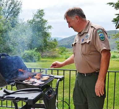 Ranger Rick Lewis prepared lunch for his staff on Monday.