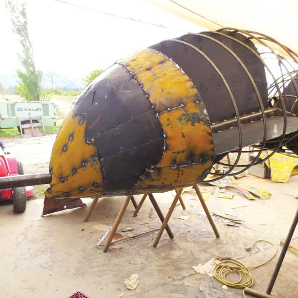 Photo courtesy of Methow Arts Huge but harmless, a yellow jacket sculpture created by local artist Barry Stromberger will soon soar over the Twisp Commons.